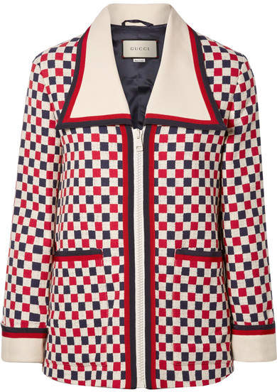 Gucci - Checked Grosgrain-trimmed Wool-blend Crepe Jacket - Ivory