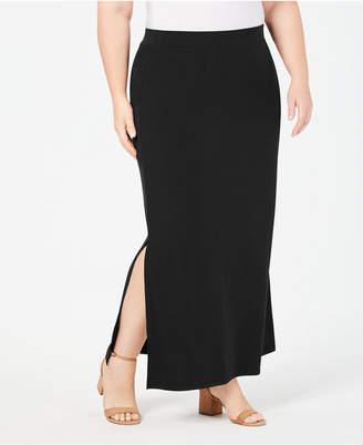 JM Collection Plus Size Side-Slit Maxi Skirt