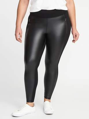 Old Navy High-Rise Zip-Pocket Faux-Leather/Ponte Plus-Size Street Leggings