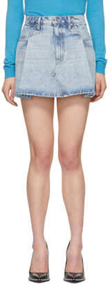 Alexander Wang Blue Denim Pleated Miniskirt