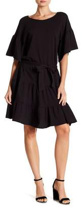 Bobeau Drop Waist Ruffle Dress