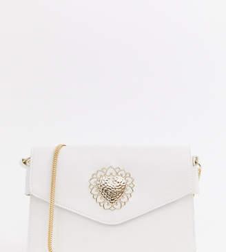 Glamorous white envelope cross body bag