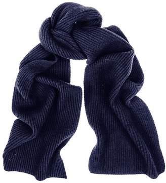 Black Navy Rib Knit Cashmere Scarf