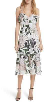 Milly Petal Print Silk Midi Dress