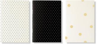 Kate Spade Set of 3 Dots Notebooks - Black/White