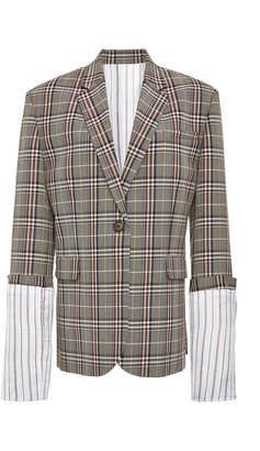 Monse Large Plaid Cuff Jacket