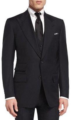 TOM FORD Windsor Base Herringbone Three-Piece Suit, Black $5,220 thestylecure.com