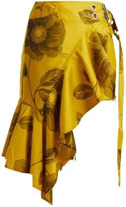 Marques Almeida Marques'almeida - Asymmetric Floral Jacquard Mini Skirt - Womens - Yellow Print