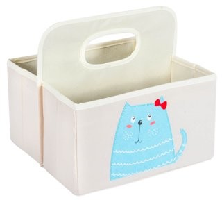 """DII Nursery Storage Caddy for Diapers, Wipes, & Creams or Use for Craft Supplies, Bath Toys, & While On-the-Go, (11x10x10""""), Kitty"""