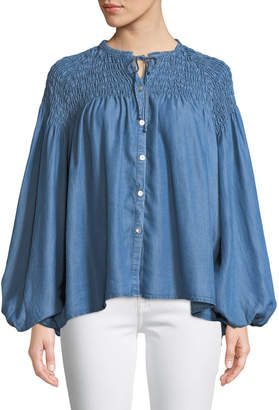 Catherine Malandrino Smocked-Shoulder Chambray Peasant Blouse