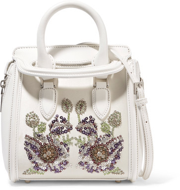 Alexander McQueenAlexander McQueen - The Heroine Mini Embellished Leather And Satin Shoulder Bag - White