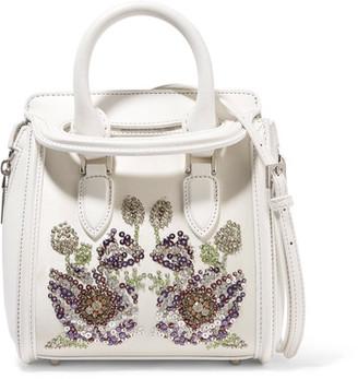 The Heroine Mini Embellished Leather And Satin Shoulder Bag - White
