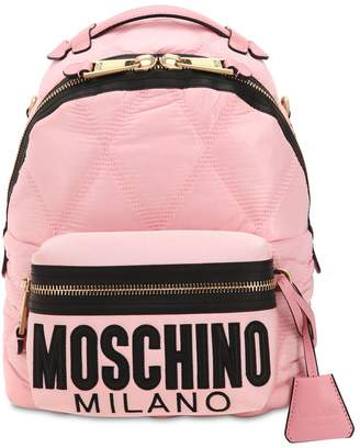 4ff91b57ef3 Moschino Logo Embossed Quilted Backpack