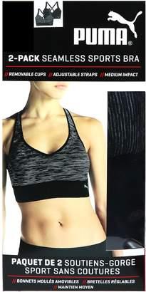 Puma Inc Seamless Sports Bra - 2 Pack (Black/Grey,)