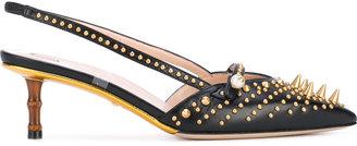 studded mid-heel pumps