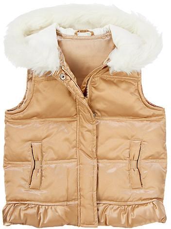 Gymboree Gold Faux-Fur Hooded Vest
