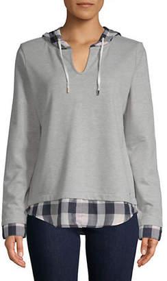 Tommy Hilfiger Plaid Twofer Hooded Sweatshirt