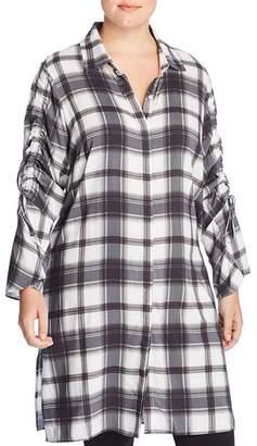 Love Scarlett Plus Plaid Drawstring-Sleeve Tunic - 100% Exclusive
