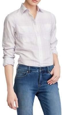 Lauren Ralph Lauren Plaid Rolled-Cuff Cotton Button-Down Shirt