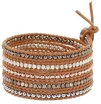 Chan Luu Hematine Mix Wrap Bracelet on Beige Leather