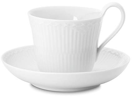 Royal Copenhagen White Fluted Half Lace Cup & Saucer