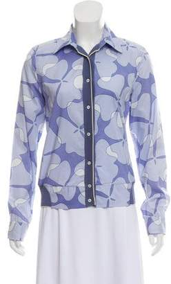 Malo Printed Button-Up Top