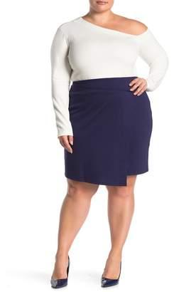 14th & Union Faux Wrap Ponte Skirt (Plus Size)