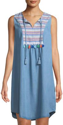 Neiman Marcus Tribal-Jacquard Tie-Neck Shift Dress