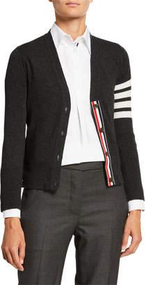 Thom Browne Cashmere Striped-Sleeve V-Neck Cardigan