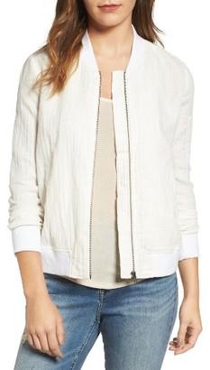 Women's Hinge Cotton & Linen Bomber Jacket $79 thestylecure.com