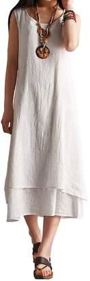 MOACC Women's Essential Solid Sleeveless Linen Midi Long Dress