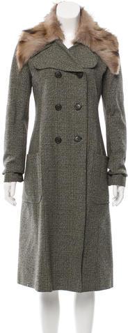 Miu MiuMiu Miu Fur-Trimmed Tweed Coat