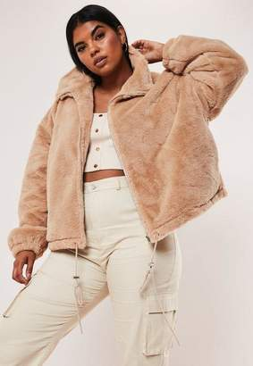 Missguided Plus Size Camel Cropped Faux Fur Bomber Jacket