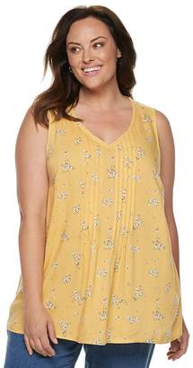 Croft & Barrow Plus Size Print Pintuck Tank