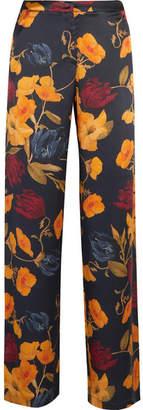 Mother of Pearl Lina Printed Silk-satin Straight-leg Pants - Navy
