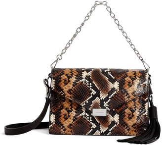AllSaints Miki Snake Embossed Leather Crossbody Bag