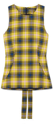 Derek Lam Checked Cotton And Wool-blend Gauze Top - Yellow