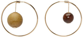 Jacquemus Gold and Brown Les creoles Nour Earrings