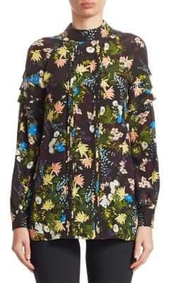 Erdem Viola Pintuck Floral-Print Silk Blouse