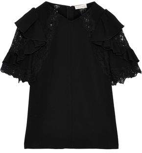 Rebecca Taylor Lace-trimmed Ruffled Crepe Blouse