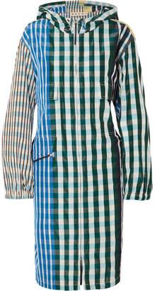 Oversized Hooded Gingham Shell Coat - Blue