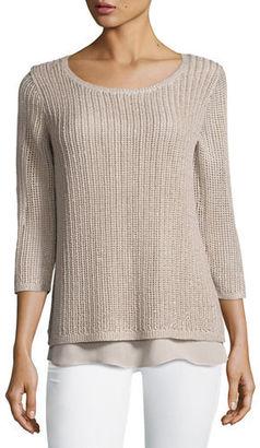 Neiman Marcus Cashmere Collection Open-Weave Sweater w/ Chiffon Hem $340 thestylecure.com