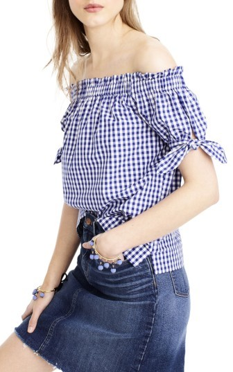 Women's J.crew Gingham Off The Shoulder Top