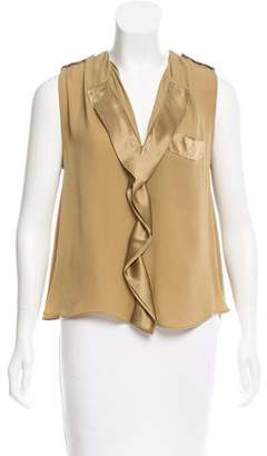By Malene Birger Satin-Trimmed Silk Top