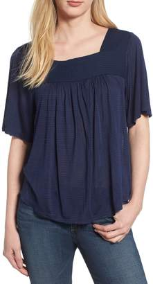 Lucky Brand Shadow Stripe Peasant Top