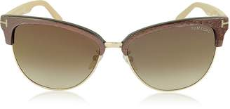 Tom Ford FANY FT0368 50G Brown Acetate and Gold Metal Cat Eye Sunglasses