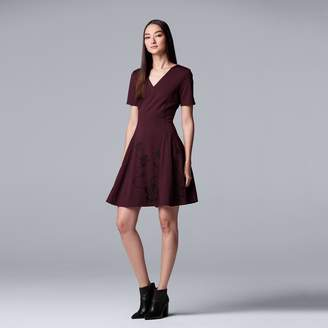 Vera Wang Women's Simply Vera Embroidered Fit & Flare Dress
