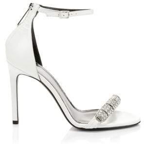 Calvin Klein Women's Asymmetric Crystal Metallic Leather Slingback Sandals - White - Size 36.5 (6.5)