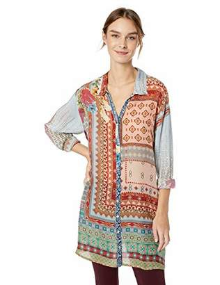 d8eb1ed217b Johnny Was Women's Button Down Tunic with Tab Sleeves