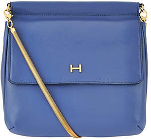 Halston H by Smooth Leather Crossbody Handbagw/ Snake Chain